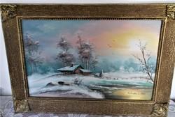 Ház a vízparton, téli tájkép, Kékessy Klára