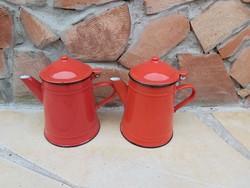 Piros  zománcos kanna, Zománcozott  kannák,kávéskanna ,kiöntő, paraszti dekoráció