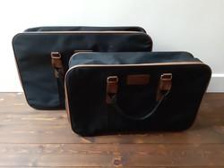 2 db tökéletes állapotú fekete-barna vászon cipzáras retro bőrönd