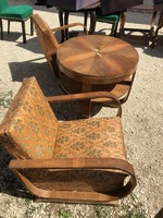Francia Art-deco fotel pár asztalal