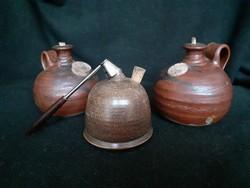 3 db cserép mécses, olajmécses, manuális, kézzel készített cseréplámpa, hibátlan, 1 Ft-ról