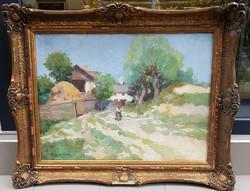 Zórád Géza (1880-1960) : Napfényes falurészlet