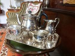 Gyönyörű, NEWHALL, csillogó felületű, ezüstözött tea vagy kávé szervírozó készlet, Berndorf tálcán