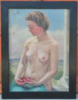 Félmeztelen portré egy csinos hölgyről, meggyvel a kezében