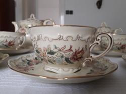 Zsolnay porcelánfajansz 6 személyes teás- és kávéskészlet