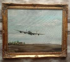 Nagyon ritka, szignózott, náci katonai repülős régi olajfestmény kerettel !