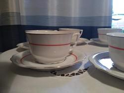 Pajzspecsétes zsolnay teás csészék arany-narancs csíkos