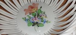 Herendi, virág mintás, gyönyörűséges porcelán fonott kosárka