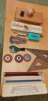 Régi és még régebbi irodai eszközök - tapper, itatós, tollszár, tollhegy,