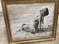 Női akt pasztell kép,festmény