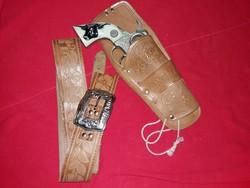 1960-s évek eredeti USA  játék Colt Texan jr. és eredeti bőr holster BONANZA csodás állapotban