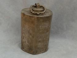 Antik ón csavaros tetős palack gyömbértartó erdélyi szász eljegyzési ajándék ón palack 18. század