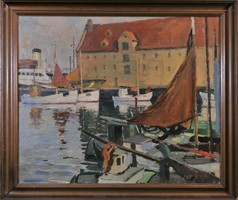 Leonard Sandrock (1867-1945) Kilátás a kikötőre