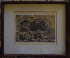 Unknown, mixed technique depicting waves in a frame, 14.5x10 cm