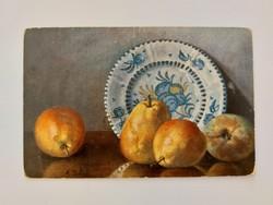 Régi képeslap M. Billing gyümölcs csendélet levelezőlap körte