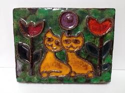 Retro macskás, cicás, fali kerámia dísz 27 x 20 cm