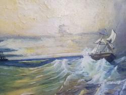 Olvashatatlan szignálású olajkép :Hullámzó tengeren
