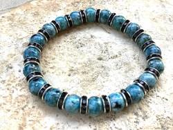 Kék fekete mintás achát uniszex ásvány karkötő