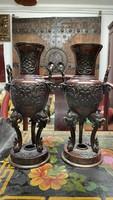 Antik japán bronz koro váza, füstölőtartó pár, Meji korszak, keleti, ázsiai, kínai