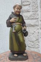 Gyönyörű festett faszobor,Ferences baràt,szerzetes ,Boros , sörös korsó, Szent