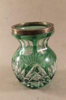 Antik ezüst tetejű kristály váza 225