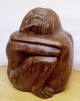 Összetartozás Indonéz természetes keményfa szobor egzotikus ritkaság.