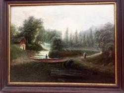 Randevú a híd lábánál, antik olaj-furnérlemez festmény, IFJ. MARKÓ KÁROLY (1822 - 1891)