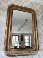 Antik Biedermeier rózsás tükör eredeti aranyozással