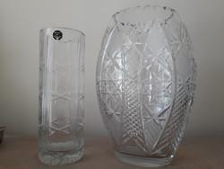 Eladó ólomkristályváza 23 cm és 26 cm öblös