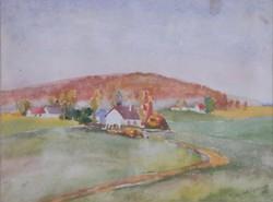 Végvári Greczkó 21 x 28 cm akvarell, papír, keretezve