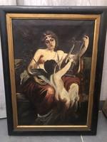 Allegorikus jelenet-Olaj festmény(44x56cm), Reisz János(?)
