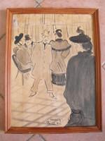 Grafika Vaszary jelzéssel Párizs 1914