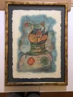 """Ef Zámbó István (1950- )Nagy EBP.""""Betört Kancsótojáshéj Fejű EDWIN""""2005. kerettel mérete:56 x 75"""