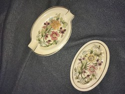 Zsolnay gilded floral ashtray and small bowl