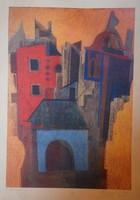 Aknay János merített papírról színes litográfia, 23x32,5 cm, szignózva
