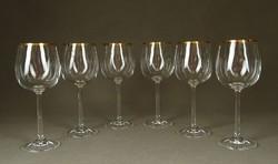 1F716 Elegáns talpas aranyszegélyes boros pohár készlet 6 db