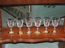 Portóis,desszertboros metszett kristály poharak /6 darab