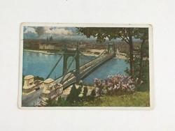 Antik, régi színes képeslap Budapest, Erzsébet híd 1913. (Művészlevelezőlap Hausner H. 7014/1)