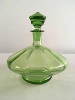 Régi, antik világos zöld, szakított üveg italos palack, dugós üveg, likőrös üveg dugóval