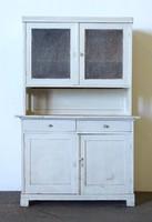 1F792 Régi festett fehér vintage fenyő konyhabútor kredenc 200 x 130 cm