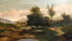 Szilágyi jelz.:Tájkép alakokkal,1892,olaj-vászon