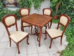 Antik szecessziós/bécsi barokk játékasztal 4 székkel