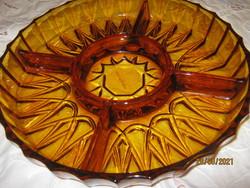 Borostyán színű nagy üveg asztalközép kínáló üveg tál