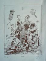 """SIMON SUDRAJ (ANDRÁS) """"A HIÚSÁG VÁSÁRA"""" 1989, (35/100) SOKSZOROSÍTOTT GRAFIKA (21X16 CM) EREDETI"""