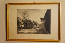 Élesdy István grafika, Budai várnegyed - utcarészlet. Rézkarc, papír 29×39 cm, jelezve