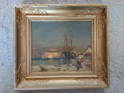 Shipping, painting, oil, paint, 25x29 + frame, signed, flawless!