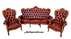 A373 beautiful baroque chesterfield leather sofa