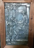 Romantikus erkélyjelenet, falikép, ón dombormű