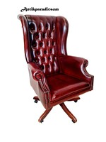 A375 antique cognac colored chesterfield leather swivel chair