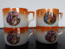 4 antique zsolnay hinges scenes, chandelier glazed teacups